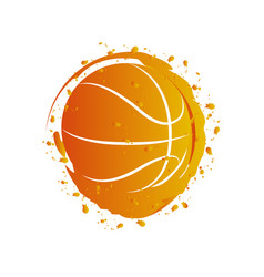 watercolor effect of a basketball ball vector image