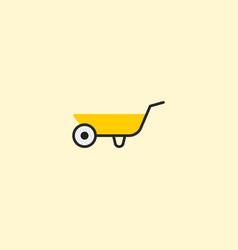 Wheelbarrow icon flat element vector