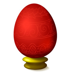 with easter egg on white background vector image