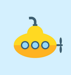 Yellow submarine with periscope flat design vector