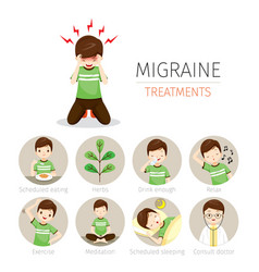 young man with migraine treatment icons set vector image