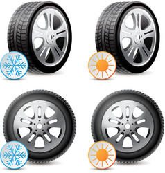 Car wheels with winter and summer tires vector image