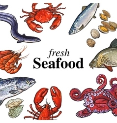 Colorful seafood banner poster design with place vector image