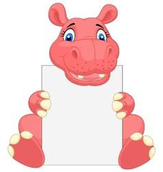 Cute hippo cartoon holding blank sign vector image