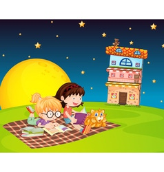 girls and building vector image