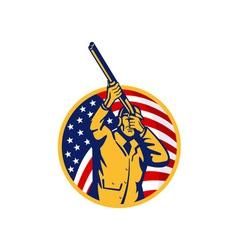 Hunter with shotgun rifle and american flag vector image vector image