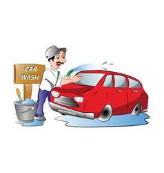 man washing a red car vector image
