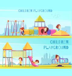 Playground horizontal banners set vector