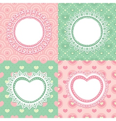 Set of lace frames with circles and hearts vector image