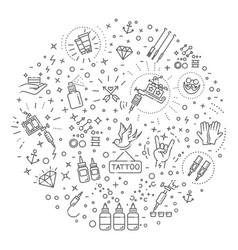 set of web line icons - tattoo salon vector image vector image