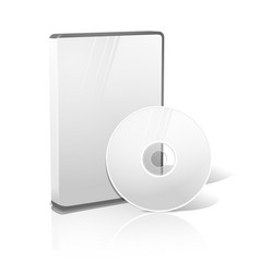 White realistic isolated DVD CD Blue-Ray case vector image