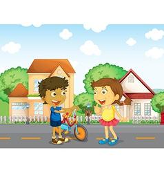 Children talking outside vector image