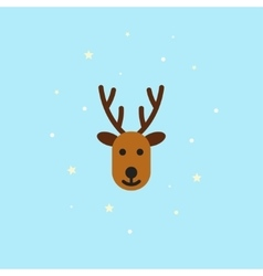 Christmas deer Icon in flat style - vector image vector image