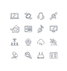Communication and web line icons vector image