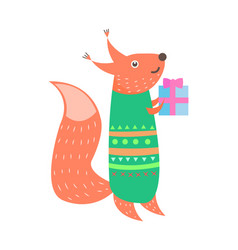 closeup of fox with present on vector image vector image