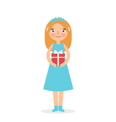 cute girl holding big ribbon bow wrapped gift box vector image