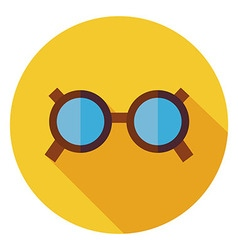 Flat Accessory Glasses Circle Icon with Long vector image vector image