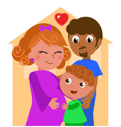 mixed races family vector image