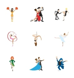 Types of dances icons set cartoon style vector image vector image