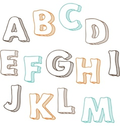 Cute hand drawn font letters set A-M vector image vector image