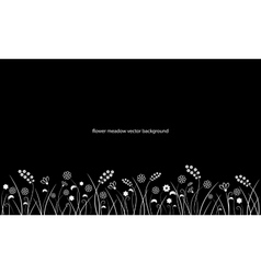 Flower meadow line border isolated on black vector