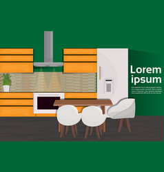modern kitchen interior house room with cooking vector image