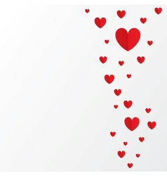 Red paper hearts Valentines day card on white vector image vector image