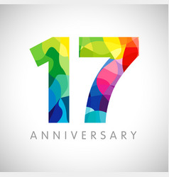17 anniversary colorful facet logo vector