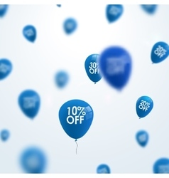 3D blurred blue discount balloons design SALE vector image