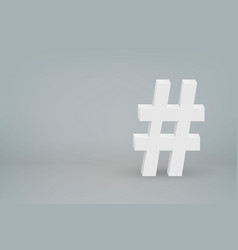 3d hashtag mark symbol on scene background vector image