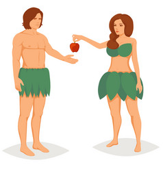 Adam and eve in paradise vector
