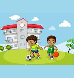 African kid playing sport infront of school vector
