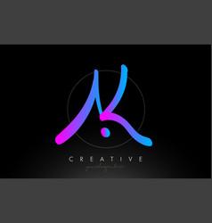 Ak artistic brush letter logo handwritten vector