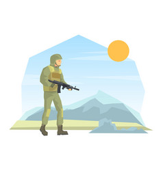 Army soldier with rifle weapon flat vector