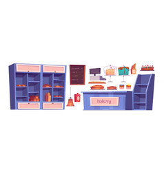 Bakery products and bake house interior stuff set vector