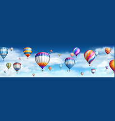 Balloons in sky with clouds vector