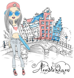 Beautiful fashion girl in amsterdam vector