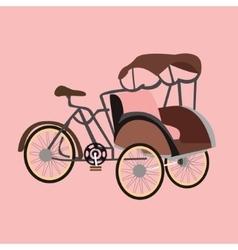 Becak rickshaw indonesia jakarta icon flat vector