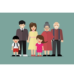 Big family together in flat style vector