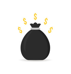 black money bag icon with shadow vector image