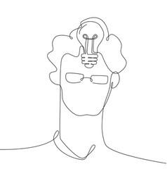 bright idea - one line design style vector image