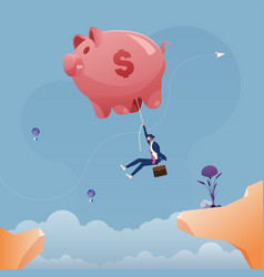 businessman hanging on a large piggy bank balloon vector image
