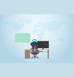Businessman working in a call center with computer vector
