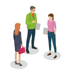 Businesswoman and man meeting vector