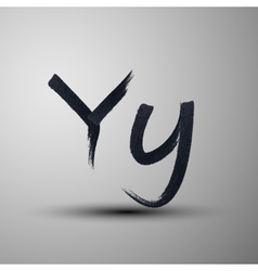 calligraphic hand-drawn marker or ink letter Y vector image