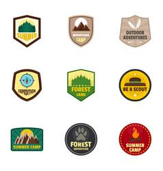 Camp logo emblem set flat style vector