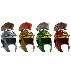 cartoon ancient roman soldier helmet set vector image