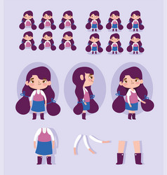 Cartoon character animation little girl some parts vector
