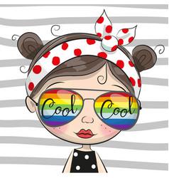 Cartoon girl with sun glasses vector