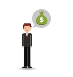 Character businessman with sack money vector